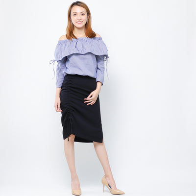 Jane navy tie ruffle top