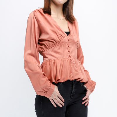 Hana gathered front and hem salmon top