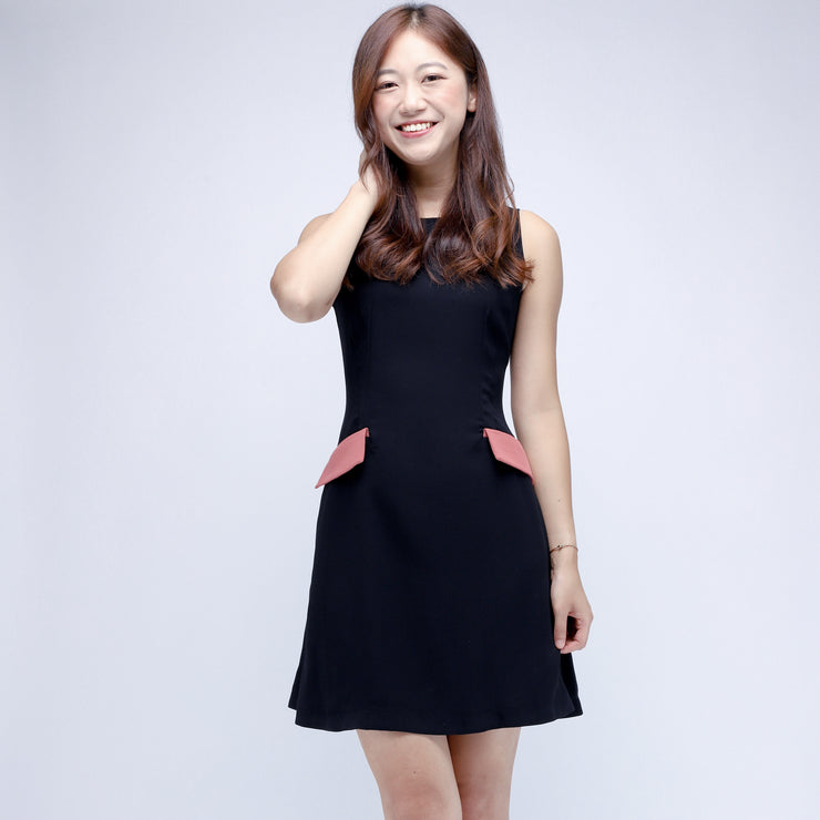 Hana contrast pockets dress