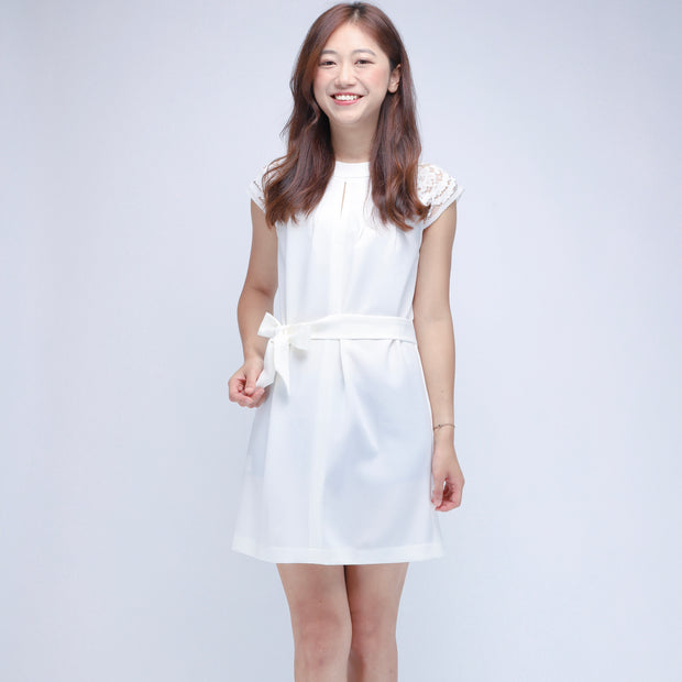 Hana lace shoulders white dress