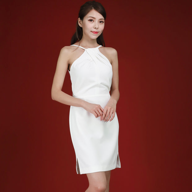 Farah Pleated Cross Neckline Dress White
