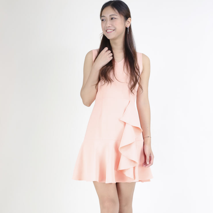 Ruffle front and hem dress