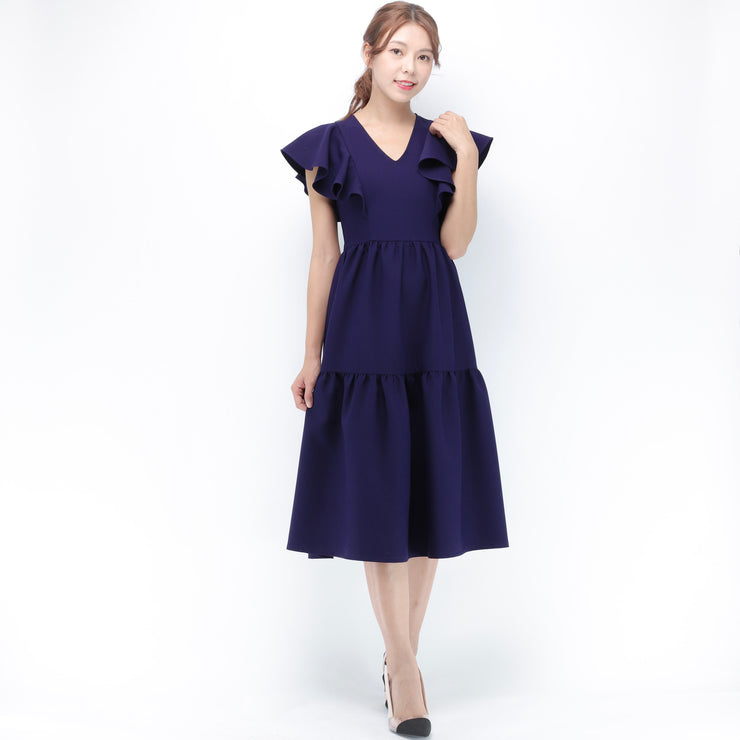 Jane v neckline ruffle sleeves dress