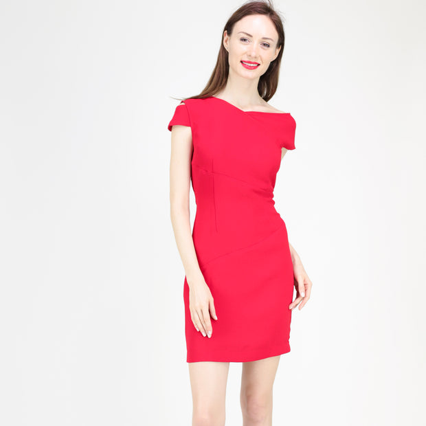 Asymmetric neckline dress