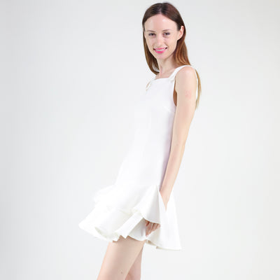 Double ruffles hem dress