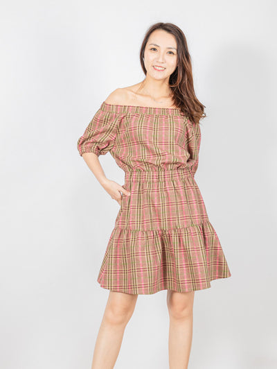 Clara drop shoulder tartan dress