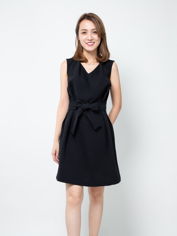 Kayla pleated neckline dress