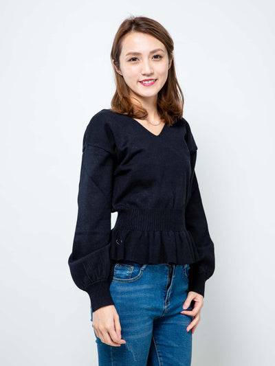 Laura knit ruffle hem top