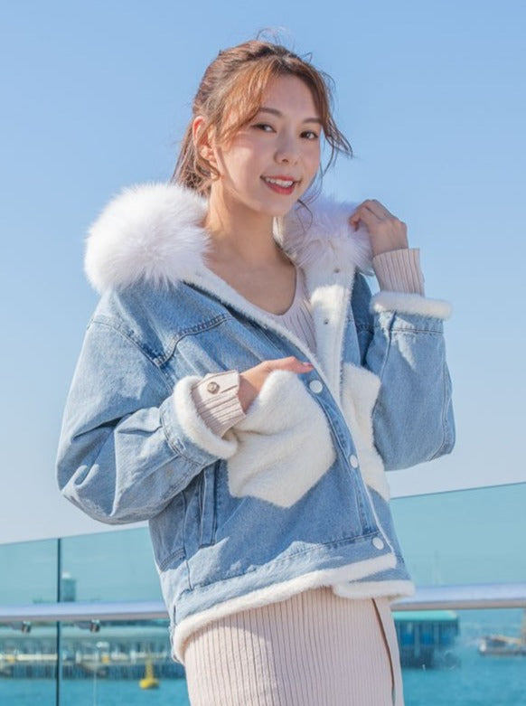 Maisy denim white fur collar jacket