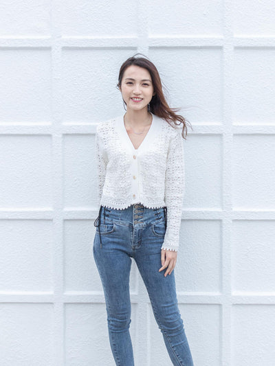Daisy white short knit cardigan