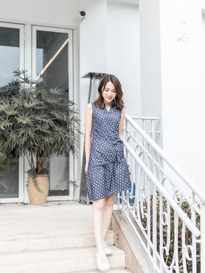 Bella printed denim dress
