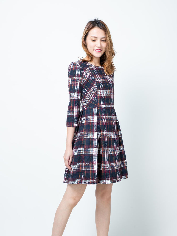 Alexa tartan pleated dress