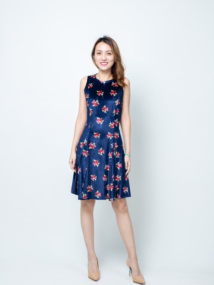Alexa navy print dress