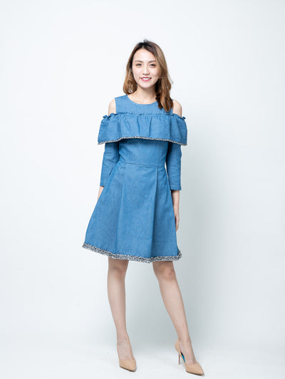 Alexa ruffle denim dress