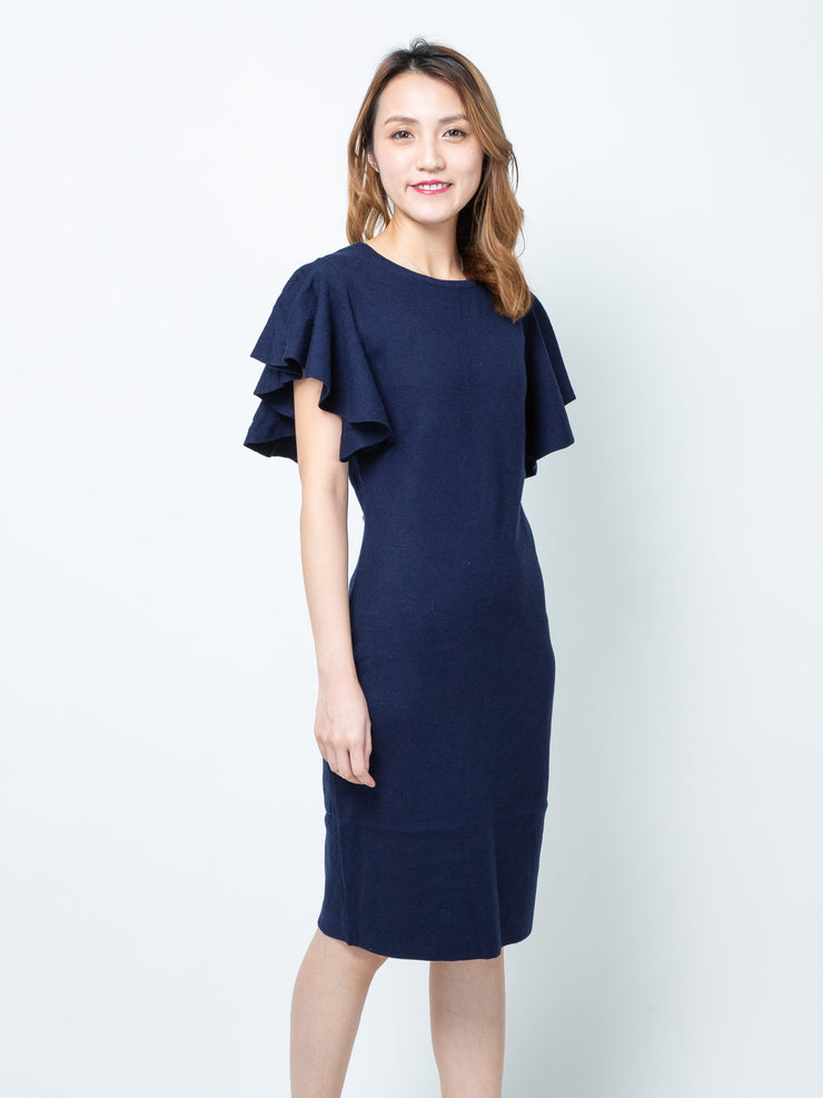 Alexa navy ruffle sleeves knit dress
