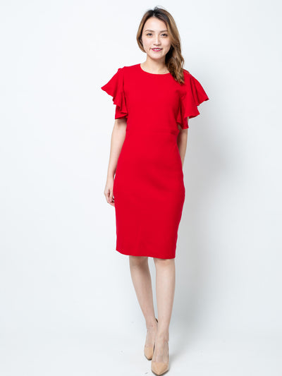 Alexa red ruffle sleeves knit dress