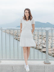 Daisy white ruffle neckline dress