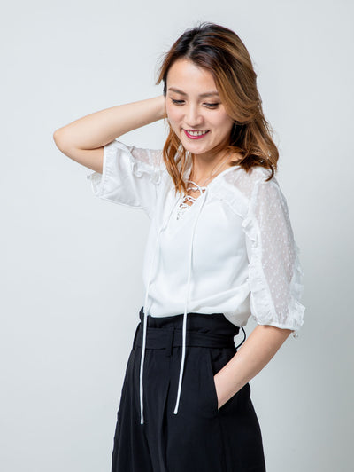 Alexa pleated blouses top