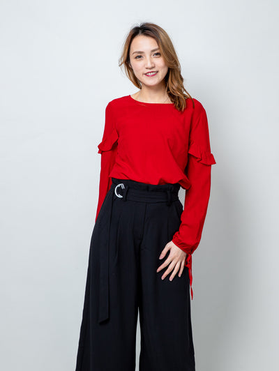 Alexa red ruffle sleeves blouses top