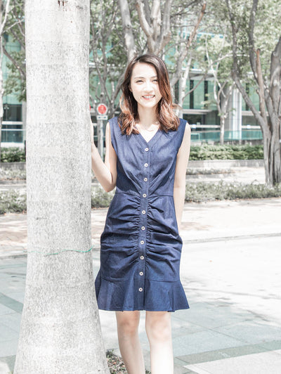 Daisy washed denim dress