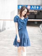Daisy navy ruffle neckline dress