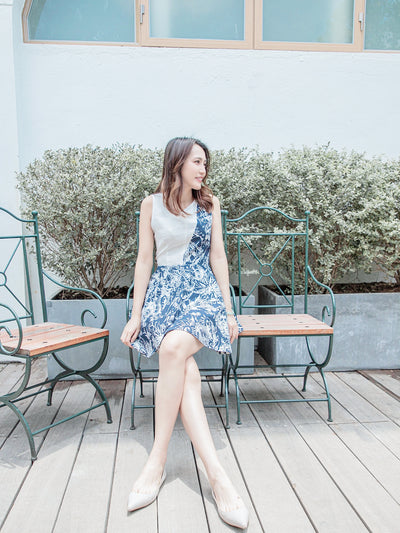 Eliza navy print dress