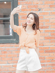 Daisy puff sleeves knit top