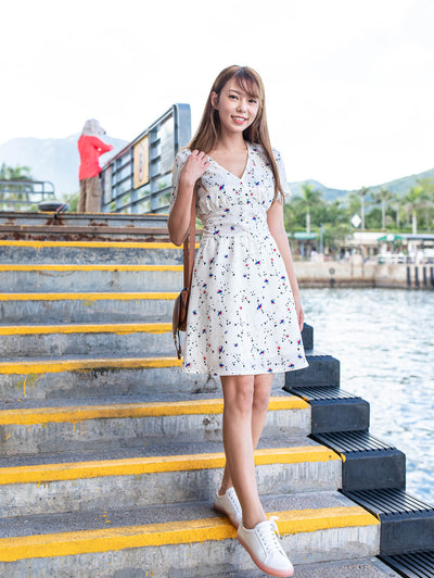 Ella white pattern dress