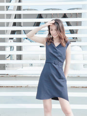 Daisy side pleated navy dress