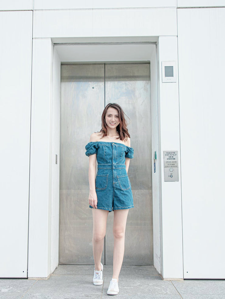Daisy denim drop shoulders overall
