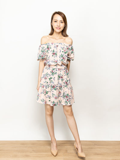 Ella peach drop shoulders dress