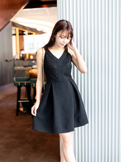 Ella lace detailed black dress