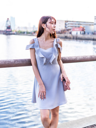 Ella a-line ruffle grey dress