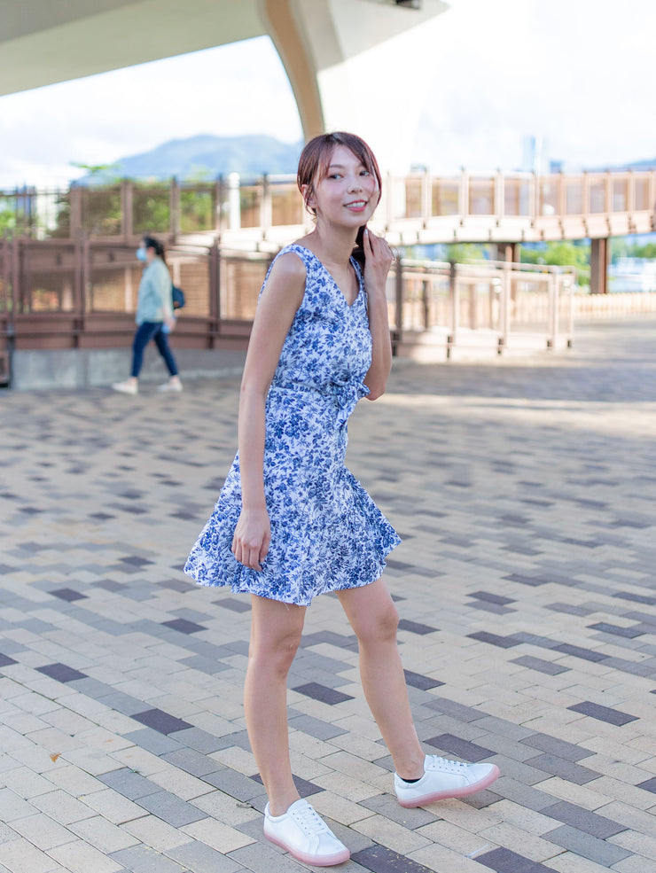 Ella printed tie waist blue dress