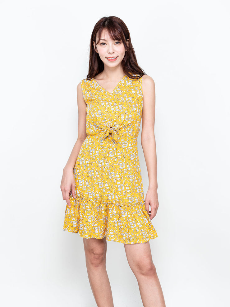 Ella printed tie waist yellow dress