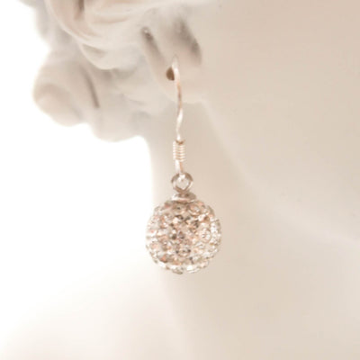 VOY Sparkling silver ball earrings