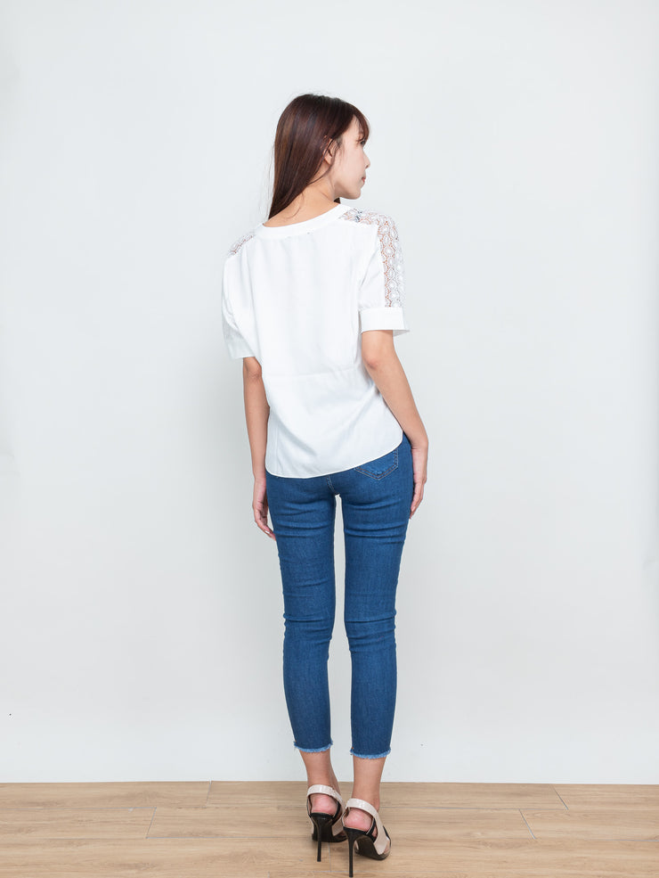 Ella lace shoulders top