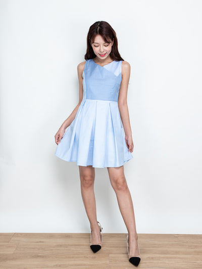 Ella contrast colour blue dress