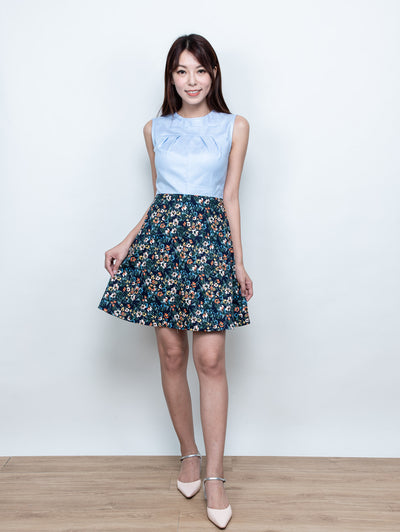 Fairen blue sky floral dress