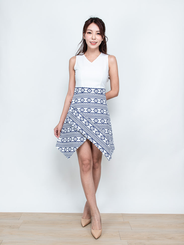 Ella contrast printed dress