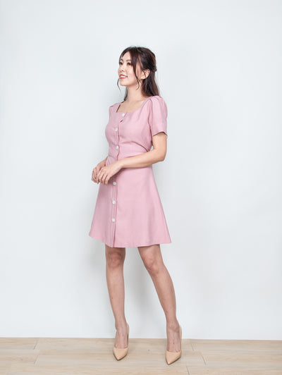 Ella buttons tie waist pink dress