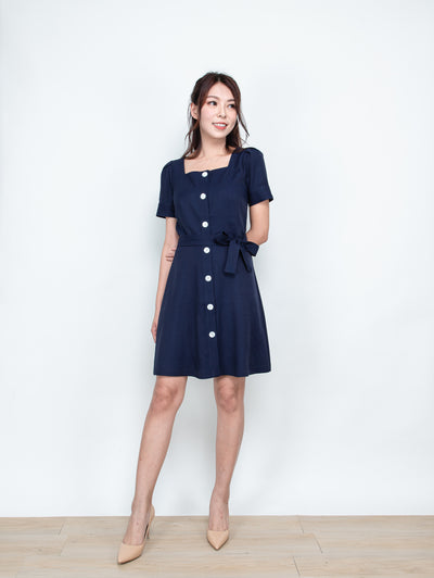 Ella buttons tie waist dress