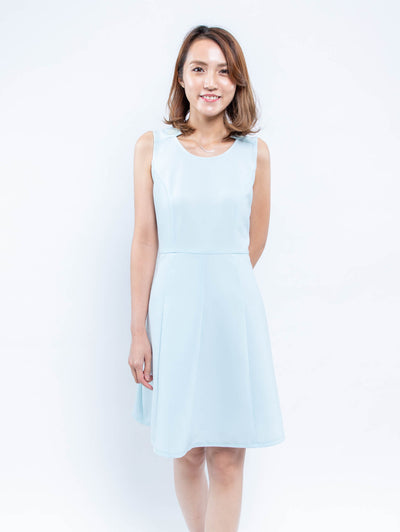 Gaily smile light cyan dress