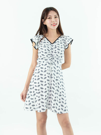 Gaily printed front ruched dress