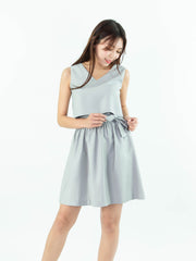 Gaily tie waist grey dress
