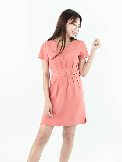 Gaily belted waist pink dress