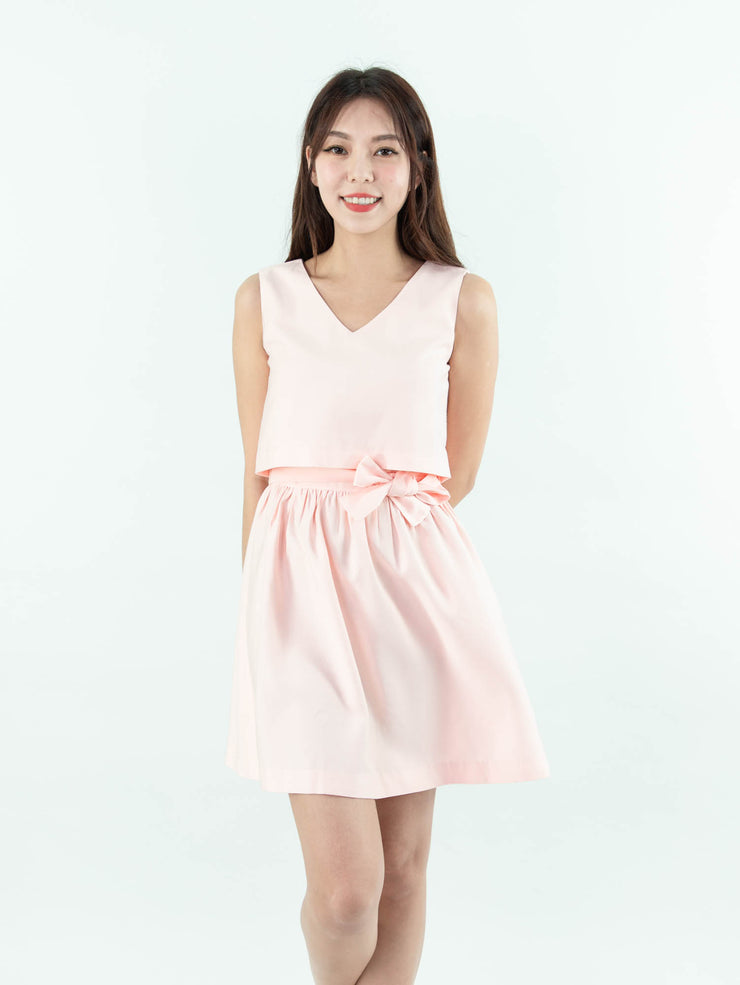 Gaily tie waist pink dress
