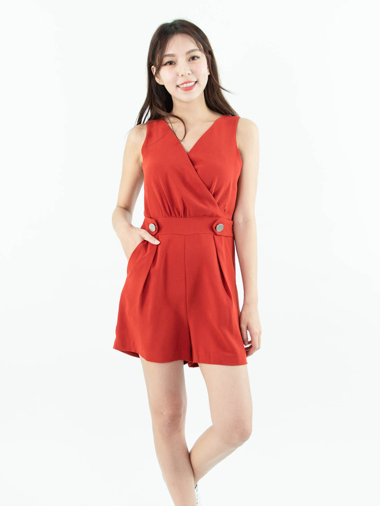Gaily wrap front red jumpsuit