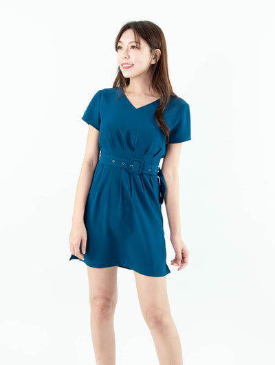 Gaily belted waist blue dress