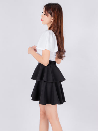 Haylie ruffle black shirt